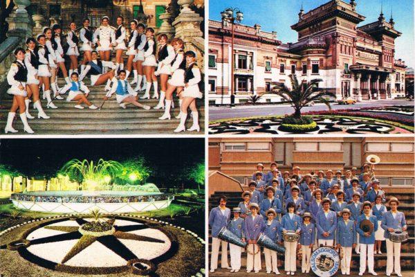1984 - Cartolina di Salsomaggiore Terme, con Banda e Majorettes